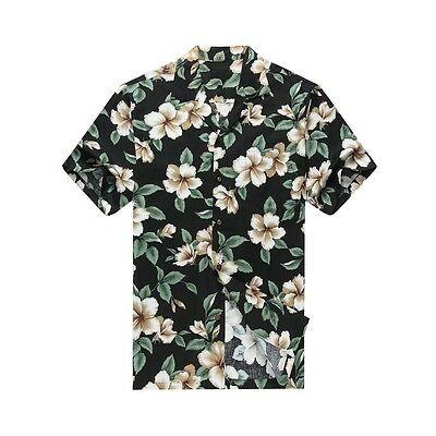 fd47bf26 Made in Hawaii Men Aloha Shirt Luau Cruise Party Hibiscus Floral Green Leaf  Blac