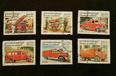 Stamp Set and MS Cambodia 2001 - Fire Engines MINT