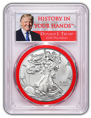 2017 TRUMP Silver Eagle FIRST STRIKE PCGS MS-70 RED GASKET PRESALE