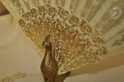 Vintage Plastic Peacock Decorative Fan with Display Holder