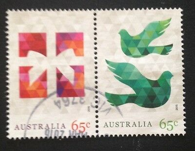 Australia Christmas 2015 Joined 65c Stamps Postal Used