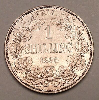 1896 1 Shilling Paul Kruger pre Boer War ZAR coin from South Africa