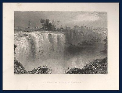 Genesee Falls Rochester New York Estes and Lauriat Boston steel line engraving