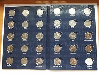 Set of 29 Olympic Sports 50p Coins  {NO ALBUM}