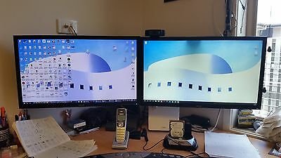 """Pair of ACER V243HL  24"""" Wide LCD monitors with Systema dual monitor mount."""
