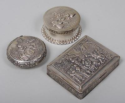 ANTIQUE Group of (3) Continental silver repousse boxes, hallmarked