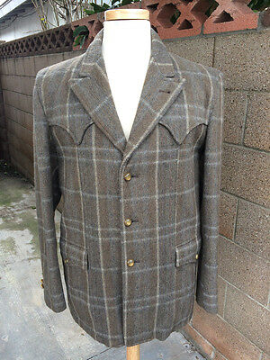 Vintage 1950's Olive Gray Wool Western Jacket Coat by Town & Country! 40