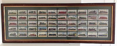 Wills Cigarette Cards Railway Engines Full Set of 50 Framed and Mounted
