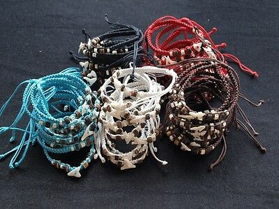 WHOLESALE 15 pcs BRACELET WITH SHARK TOOTH AND SPINE BLUE WHITE BROWN RED BLACK