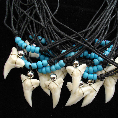 40 X Bulk Lot Wholesale Shark Tooth Necklace  Assorted Colours Turquoise & Black