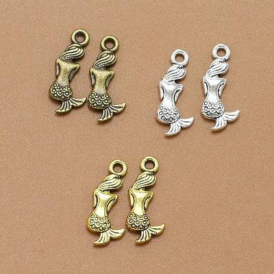 New 20-300ps 3 Color Princess Little Mermaid Metal Charm Pendants Jewelry Making