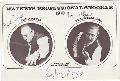 Watneys Proffessional Snooker 1973 Card Autographed By F.davis, Rex Williams, Sy