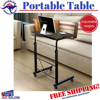 New Table Adjustable Bed Sofa Side Laptop Portable Study Computer Desk Wheels