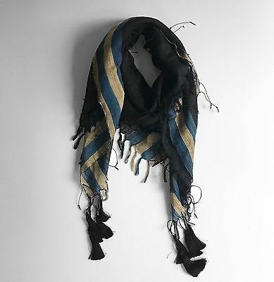 DRIES VAN NOTEN Silk Shawl In Black Gold and Teal Threads and Pompoms