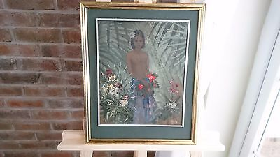 Oil Painting - Native Tribal Indian Girl Forest Floral - Decorative