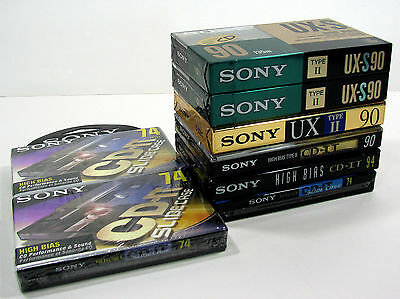 8 Sony Type 2 High Bias Blank Audio Cassettes Tapes. UX-S 90, UX 90, CD-IT. NEW
