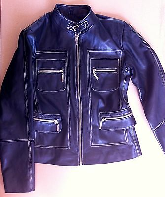 Black Ladies Leather Jacket Size L By Tiamopelle