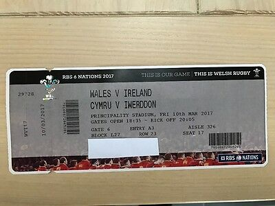 Two tickets WALES v IRELAND  RBS 6 Nations 10 march 2017