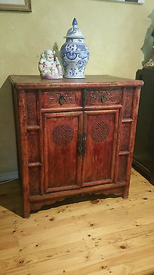 Antique Ming Dynasty Inspired Elmwood Chinese Wedding Cabinet