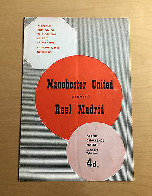 MANCHESTER UNITED v REAL MADRID : Friendly 1st Oct 1959 token intact