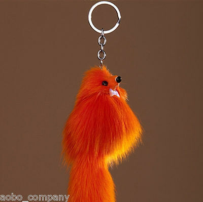 Orange Female Cute Faux Fox Fur Handbag Key Chain Cell Phone Pendant Accessories