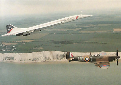 Concorde and Spitfire postcard