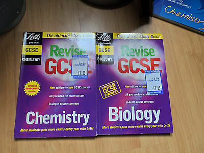 STUDY GCSE BOOKS LETTS BIOLOGY and 2 CHEMISTRY REVISION BOOKS EXAMS