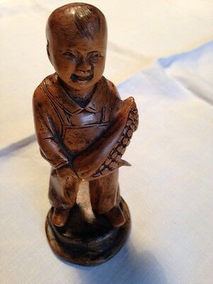 Oriental boxwood figure of boy
