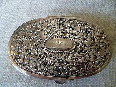 vintage silver plated masonic cartouche oval red linned trinket box