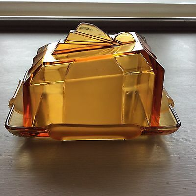 1930s Art Deco Butter Dish. Moulded Amber Glass.