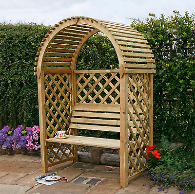 Wooden Wood Round Top Arch Arbour with Bench Seat Home Garden Decor Furniture