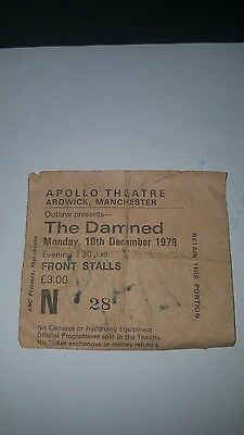 The Damned ticket stub. Signed by Rat Scabies, Appollo Theatre, Manchester 1979.