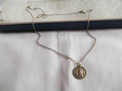 """Vintage 925 Sterling Silver St Christopher Pendant 18"""" Chain  Necklace"""