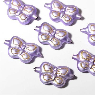 Lot (8) Vintage Czech lilac glass butterfly Christmas tree ornaments baubles