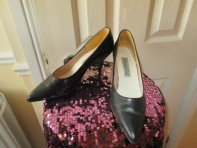 Vintage 1980's black leather stiletto shoes by Chelsea Girl Size 7