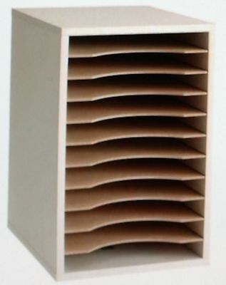 """Safco 9419GR Vertical Wood Organizer, 11 Compartments, 10-5/8""""x1-7/8""""16"""", Gray"""