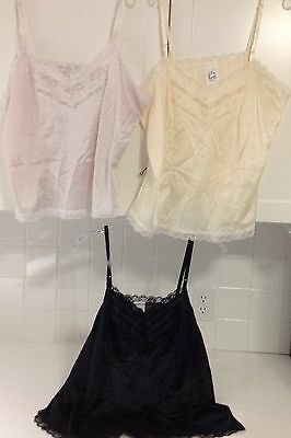 Vintage 70's Figurfit Set Of 3 Camisoles, NWOT Made In USA Anti Cling