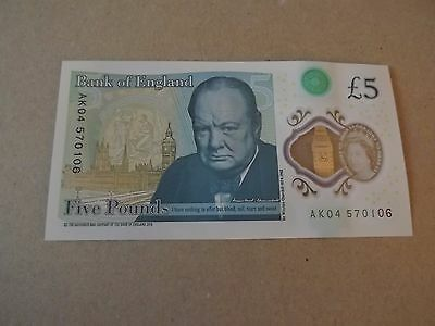 Bank of England New Polymer £5 Five Pound Note AK Serial No. Rare Collectable