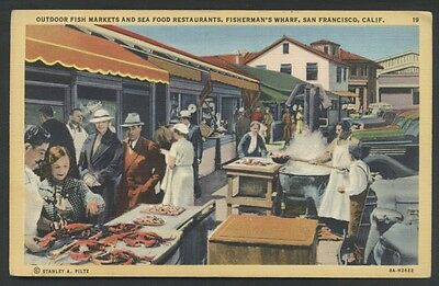 Fisherman's Wharf Postcard Markets Sea Food Restaurants San Francisco California
