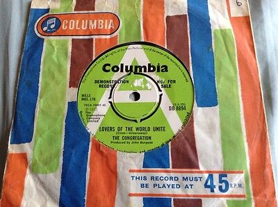The Congregation Lovers Of The World Unite DEMO Columbia DB 8894 UK 7 Single