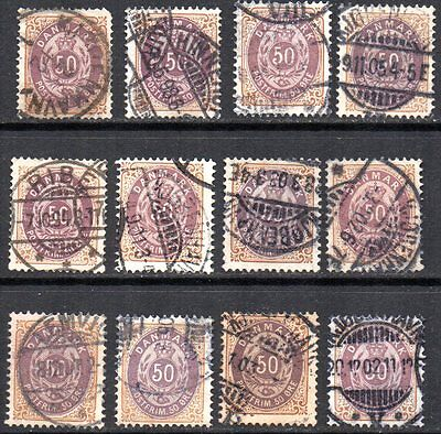 DENMARK – 1875-1905 – 50 øre stamps, collection of 12 used