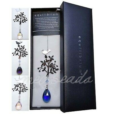 Crystal Suncatcher by Equilibrium with Tree, Butterfly, Bird - Gift Boxed