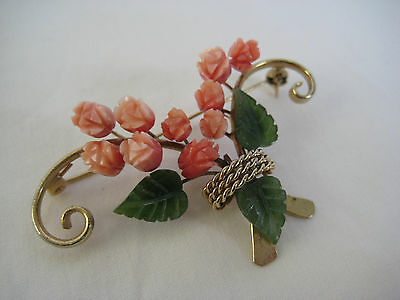 Art Deco Carved Stone Brooch