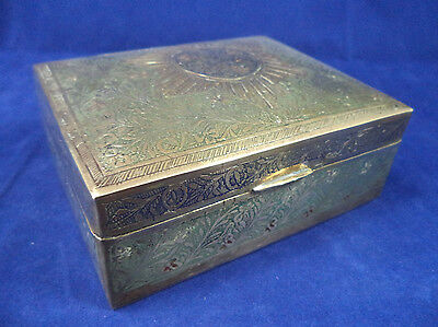 Vintage INDIAN BRASS BOX Wood Lined Snuff Ciggarette Trinket Jewellery Ring Case