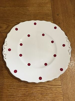 ROYAL VALE BONE CHINA 1960s CAKE PLATE - RED POLKA DOTS - GILDED TABS