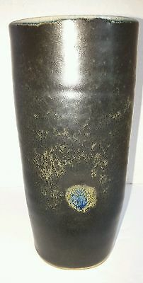 "Vtg. Handmade 7"" Tall Pottery Vase signed. A unique dented style Beautiful Vase"