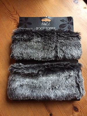 """""""Boot Toppers"""" -  In Grey/black Faux Fur. BNWT. From M & Co"""