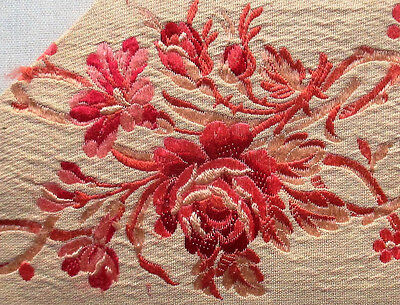 Vintage Silk Brocade Fabric Red to Shades of Pink  Roses French