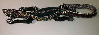 """Beautiful Decorative Wooden Hand Crafted and Hand Painted 18 1/2"""" long Lizard."""