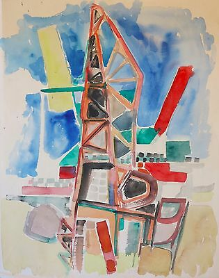 Erik Johan Smith 1958 modernist abstract painting Stockholm Sweden WPA artist